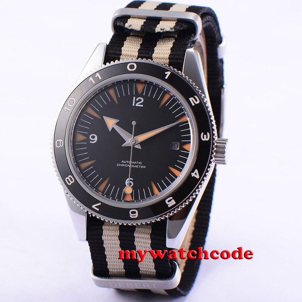 41mm Debert schwarz Zifferblatt Saphirglas Miyota Automatikwerk mens watch uhr рюкзак picard 9809 113 001 schwarz