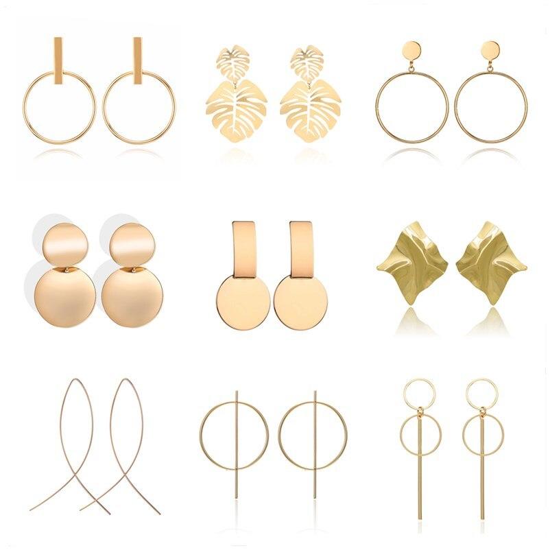 Statement Earrings Metal Round Geometric Drop Earrings For Women Pendant Dangle Earing Party Jewelry Pendientes Oorbellen