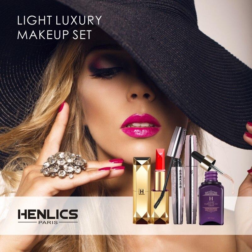 HENLICS 3 pz Luce Di Cosmetici di Lusso Set di Trucchi Make Up Cosmetici Gift Set Kit di Attrezzi con 1 CC Crema e Rossetto e Mascara