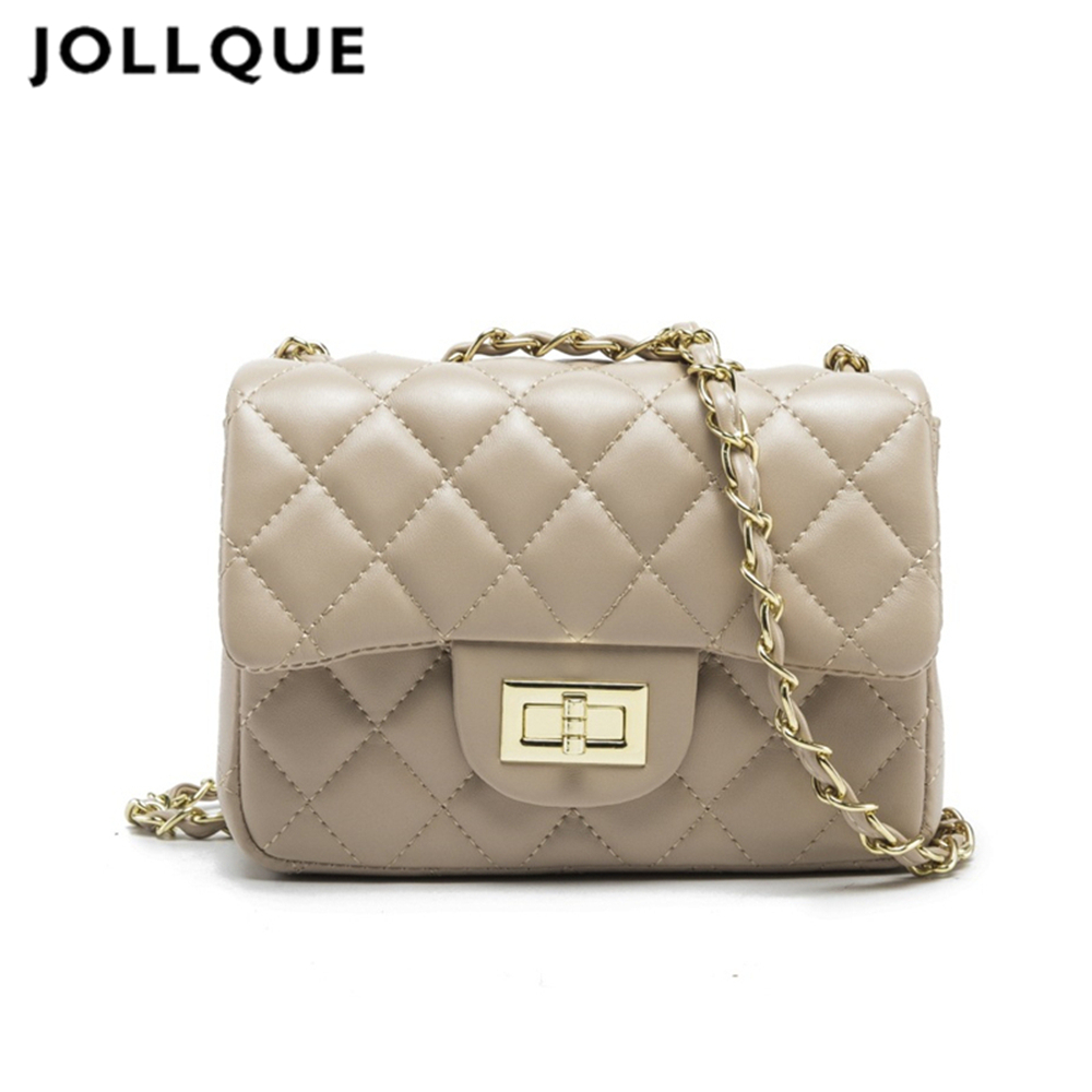 Jollque Black Women Shoulder Bag Crossbody Chain Clutch Bags Plaid Handbag Quilted Sac A Main C Flap Leather Small Messenger Bag