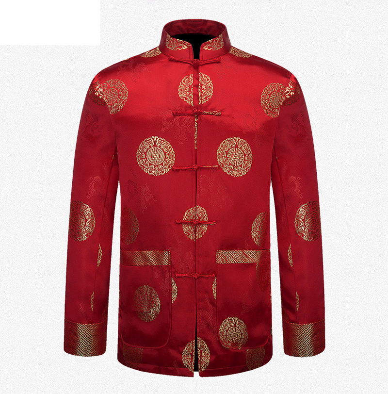 red chinese national new year men clothing silk satin jacket mandarin collar coat tang suit top. Black Bedroom Furniture Sets. Home Design Ideas