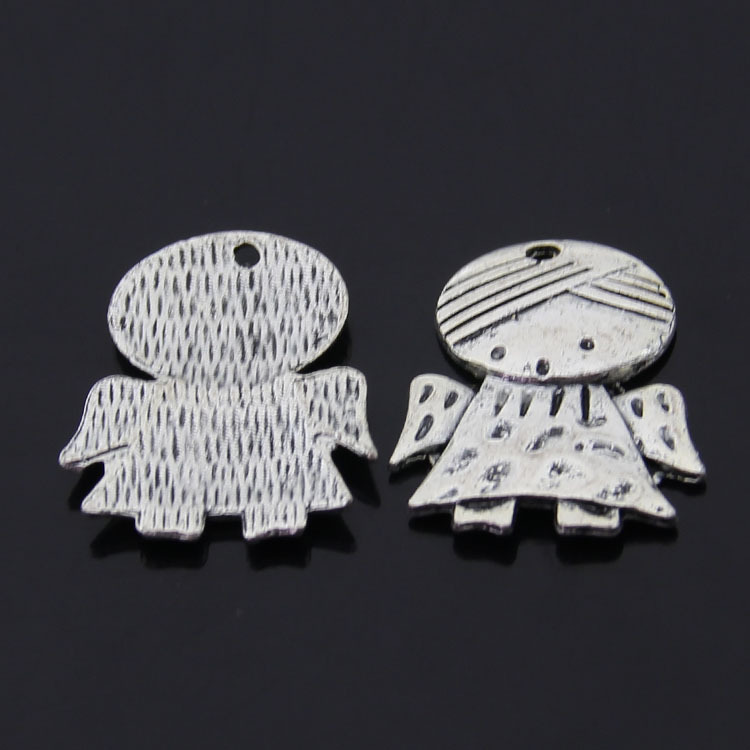 Free Shipping Little girl guard angel charm For friends pendant 12pcs 22*30mm antique silver fit bracelet diy jewelry making