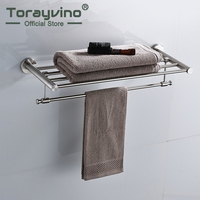 Torayvino Bathroom Towel Rock Wall Mounted Bath Towel Shelf Stainless Steel Nickel Brushed Towel Holder Towel