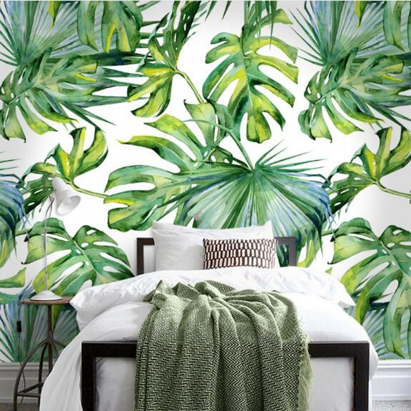 Dropship Fatman Wallpaper 3d Light Green Leaf Nordic Wall Murals Wallpapers For Living Room Wall Papers Home Decor Papier Peint