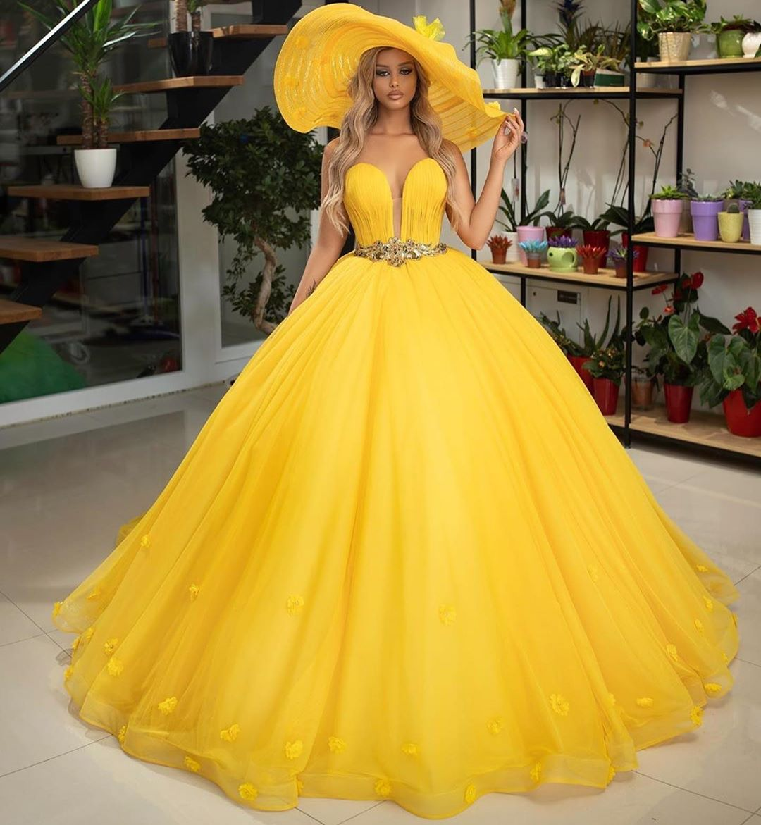 Yellow Ball Gown Fashion Dresses