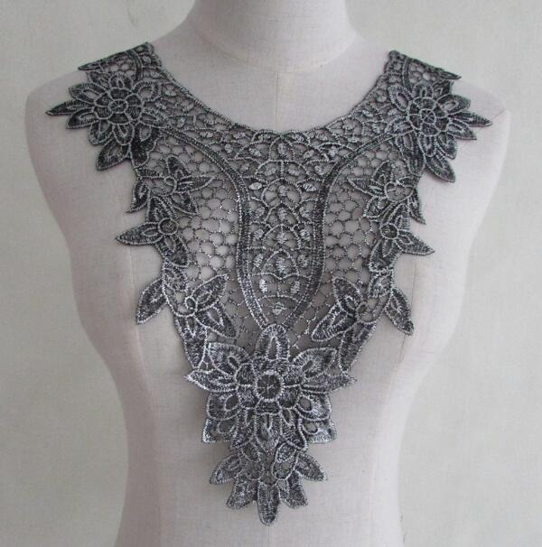 Women's Korean Fashion Gray Lace Collar Lady's Flower Embroidery Hollow Out Diy Accessories Ties & Detachable Collar R945