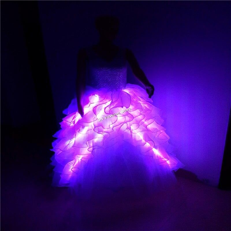 GG10 Värviline Ballroomi laulja tants LED-valgustite kostüümid - Pühad ja peod - Foto 3