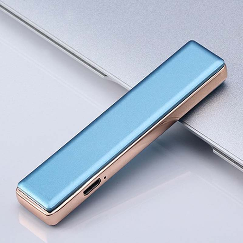 Trend Crowd Usb Windproof Lighter Charging Personality Ultra-thin Electronic Cigarette Lighter Men Creative Custom