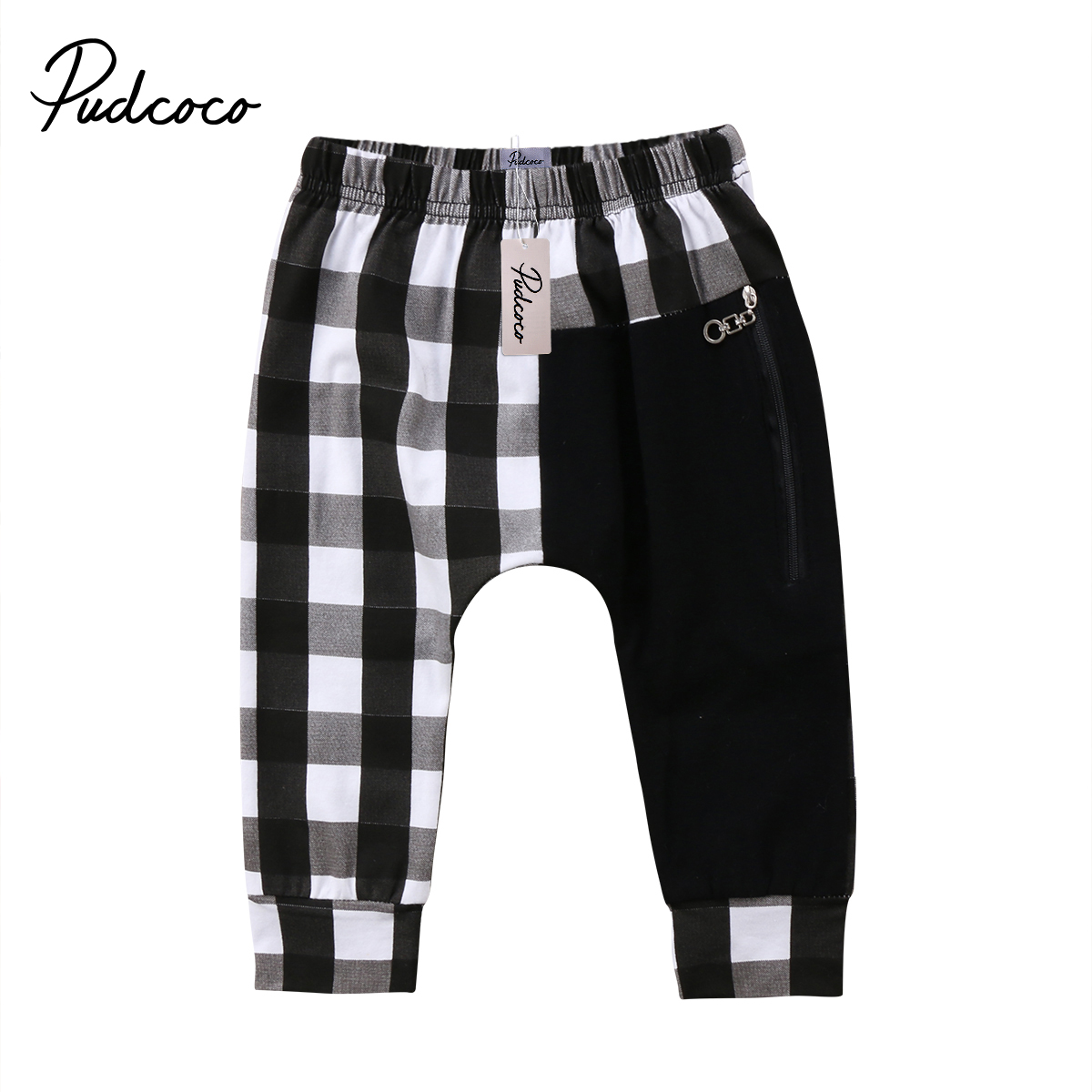 Pudcoco Toddler Kids Boys Plaid Zipper Bottom Pants Boys Casual Panty Harem Pants Trousers mid rise zipper fly pocket casual pants