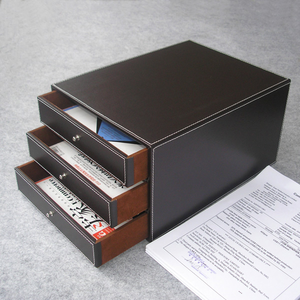 3 layer 3 drawer wood leather desk set filing cabinet storage box drawer office organizer document container holder brown 213B