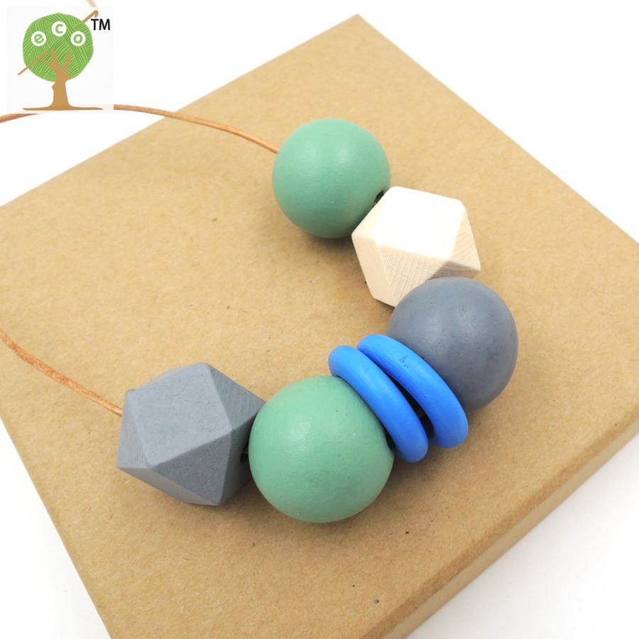 Simple light wooden necklace pandant with teal grey blue painted geometric wood beads minimalist jewelry necklace gift NW178