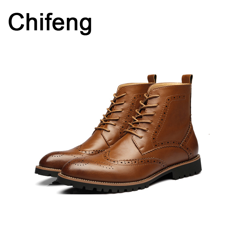 Men's boots Genuine leather pointed men shoe 2017 spring autumn new fashion bullock Martin boots mens shoes