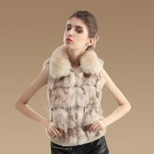 Fashion Women Fur Waistcoats Winter 6 Colors Real Fox Fur Vests With Fox Fur Collar Natural Fox Fur Gilets Female YC1023