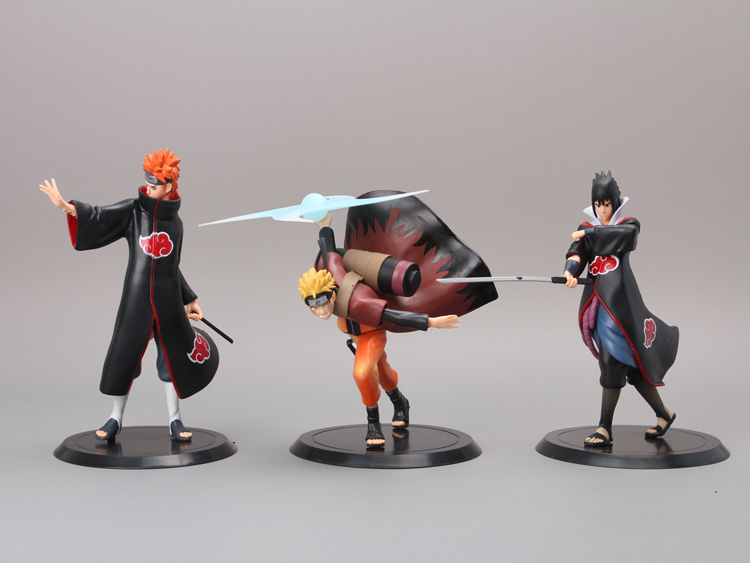 NARUTO Figure Uzumaki Naruto + Uchiha Sasuke + Pain 3 Piece Set 1