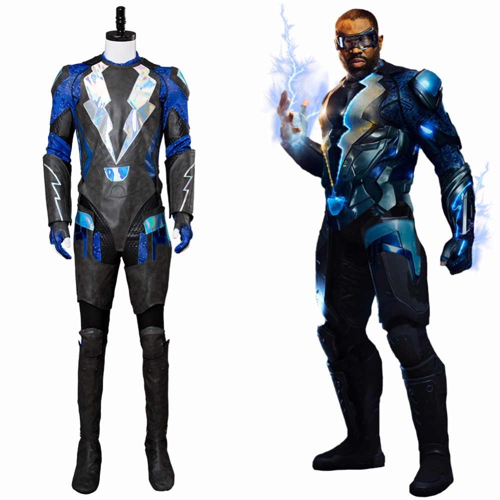 Kids the Black Lightning superhero cosplay jumpsuit Halloween costume toys gift
