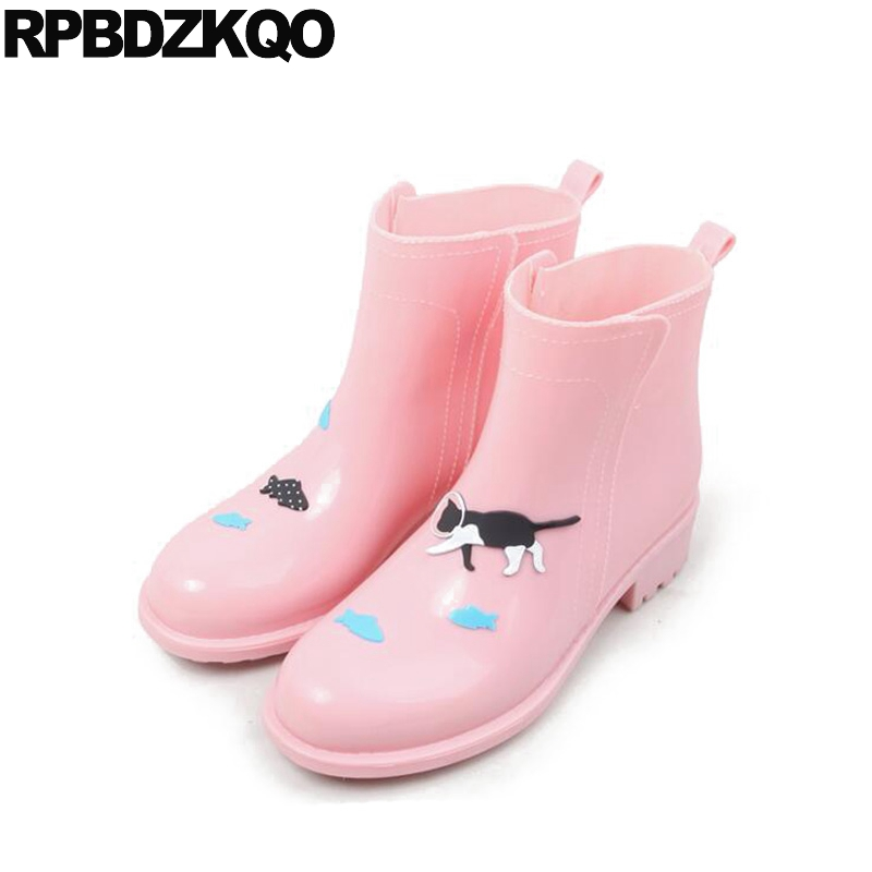Slip On Candy Rain Boots Cheap 2017 Booties Cartoon Ankle Short Chunky Waterproof Pink Round Toe Autumn Shoes Chinese Fashion юбка candy rain c15ab5688 2015