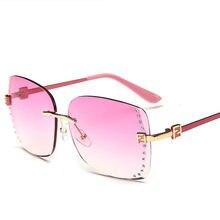 2018 moda mujer Rimless gafas de sol mujer marca diseñador gafas de sol  conducción lujo transparente vendimia sombra 14f5eb3b77ff