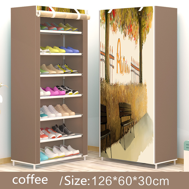 Modern minimalist shoe 8 layer non-woven dust creative combination cabinet storage rack organizer shoe storage home Furnitur 3