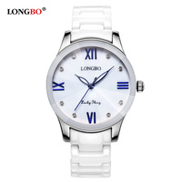 LONGBO Luxury Fashion Casual Quartz Ceramic Watches Lady relojes mujer Women Wristwatch Girl Dress Female Laides Clock 80170