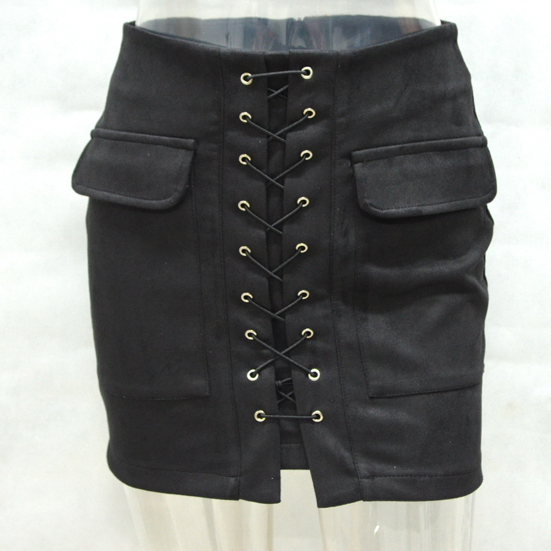 Women Summer Short Mini Skirts Lace up Skirt Fashion Cross High Waist Fashion Bodycon A-Line Above Knee Mini Skirt Sexy L83536