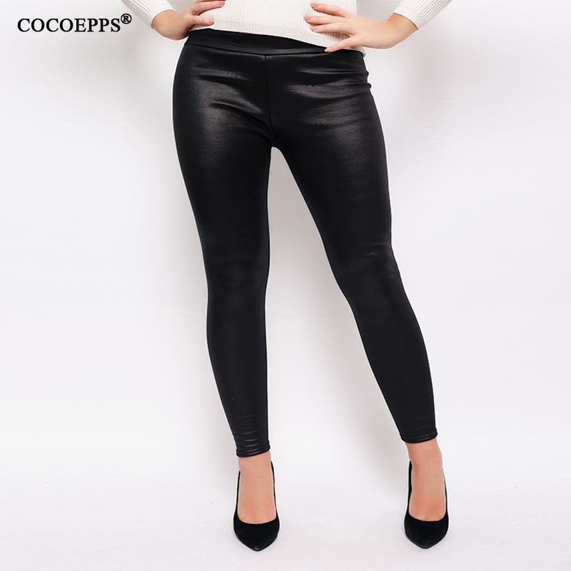2018 Hot Plus Size PU Leather Women Pencil Pants Female Black Leggings Large Size Pants Big Szie High Waist Shiny Leggings Pants