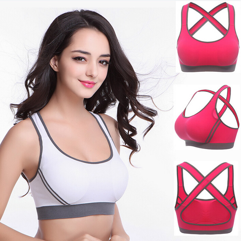 389f32bbd79ef Toppick Yoga Bra Yoga Shirt Running Gym Fitness Athletic Bras Padded Push  Up Tank Tops For Girls and Women ropa deportiva
