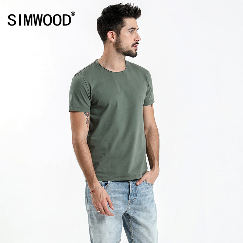 SIMWOOD 2019 Summer New Raw Crew Neckline   T     Shirt   Men Slim Fit Vintage Washed Look 100% Cotton Tshirt Plus Size Tee Tops 180136