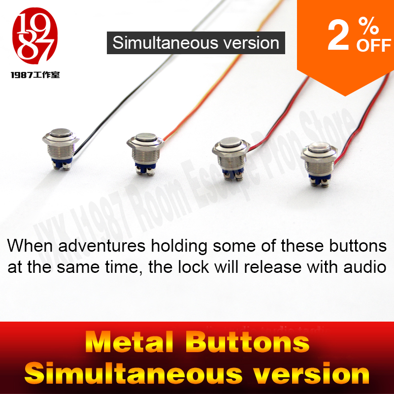 Chamber room prop real life escape game prop metal button prop press button in same time to unlock with audio jxkj1987 adventure перфоратор bort bhd 1000 turbo