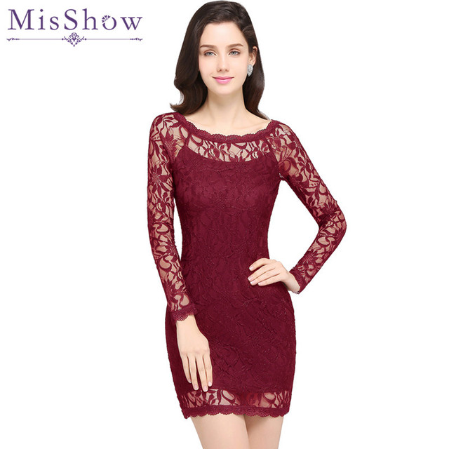 Vestido de Festa Curto Sexy Sheer Long Sleeve Burgundy Short Bodycon Dress  2019 Cheap O Neck Black Lace Dress Vestidos Femininos d41e391bb7f0