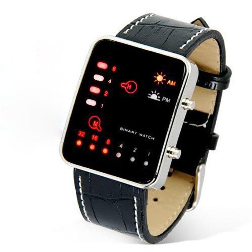 Superior Digital LED Sport Wrist Watch Binary Wristwatch PU Leather Women Mens Nice Hour Clock Gift Relogio Reloj Drop Shipping