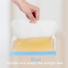 Reusable Storage Bags Food Grade PEVA Ziplock Bags Leakproof and Fresh Food Storage Containers Leakproof Containers Bag Cup(China)