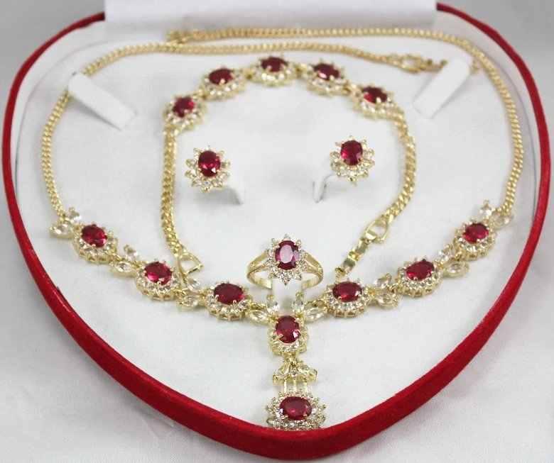 Atacado conjuntos de gargantilha para mulheres anime fino natural gem pedra colar pulseira brinco anel conjunto dourado prata real