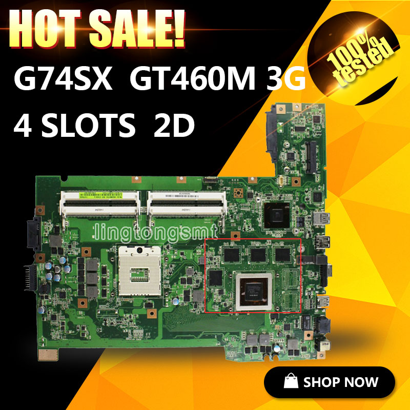 G74SX for ASUS rev 2.0 notebook motherboard 2D connector 8 memory GT460M original new 100% Tested for asus g74sx laptop motherboard with 2d connector 4 ram slot gtx560m pga989 rev 2 0 full test