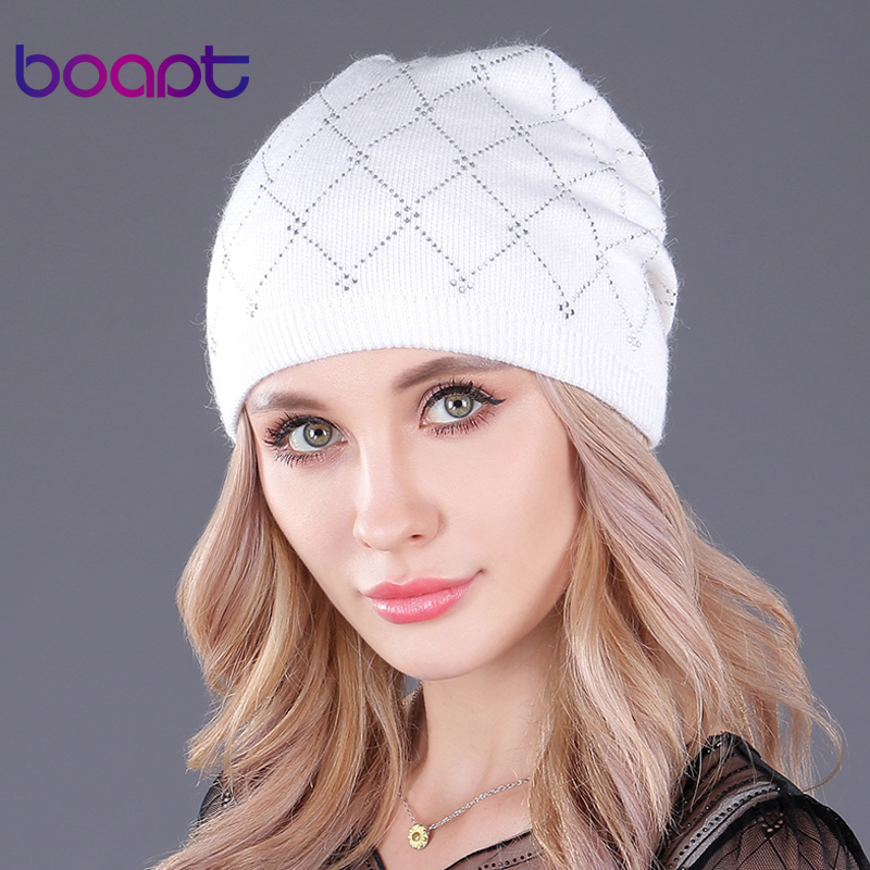 [boapt] Double-deck Wool Knitted Rhinestones Beanie Caps For Women's Hat Girl Warm Winter Hats Casual Female Skullies Beanies