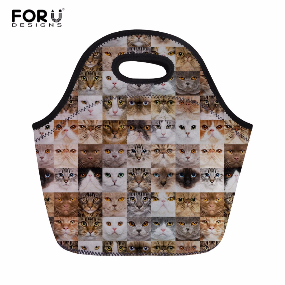 FORUDESIGNS Face Bags Kid Student Lunch Bag Women Portable Meal Bag Office Worker Insulated Lightweight Lunch Box with Zipper