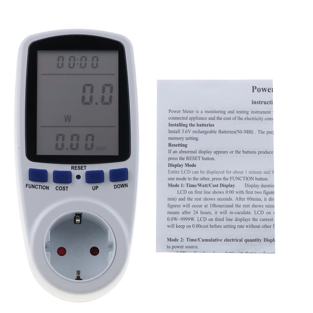 Цифровой измеритель мощности, ваттметр с вилкой Стандарта ЕС, анализатор мощности, ватт, калькулятор, измеритель энергии, анализатор розетки
