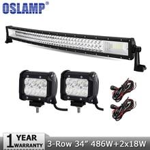 Oslamp 34 zoll 486 Watt 3-reihen Curved LED Light Bar Offroad Combo + 2 stücke 18 Watt Spot flut Führte Arbeitslicht Bar 12 v 24 v Lkw SUV ATV 4WD 4×4