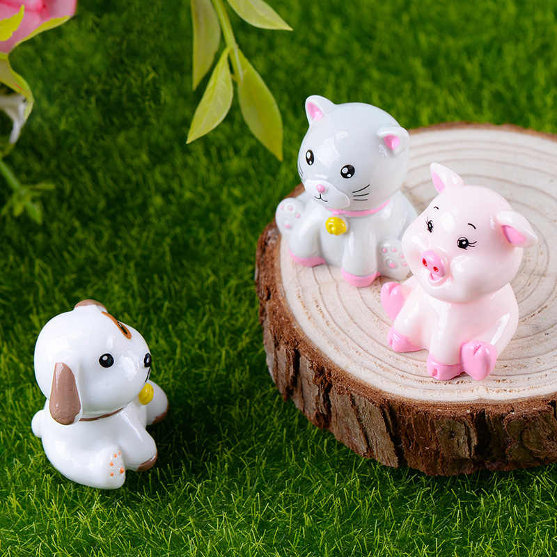 1 шт. свинья собака кошка фигурка миниатюрное животное украшение мини Сказочный Сад Мультфильм Животное Статуя Смола ремесло домашнее украшение автомобиля