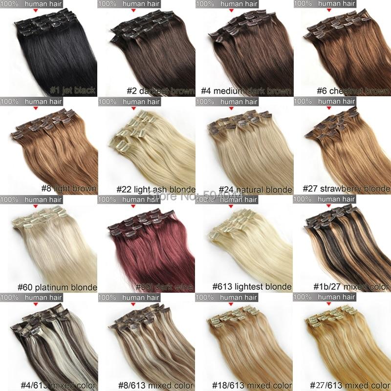 161820 22 24 26 28 6pcs Brazilian Remy Clips Inon Human Hair