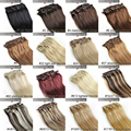 """16""""18""""20"""" 22"""" 24"""" 26"""" 28""""  6pcs Brazilian Remy Clips In/on Human Hair Extensions 22 Colors 70g 80g 100g 120g 140g"""