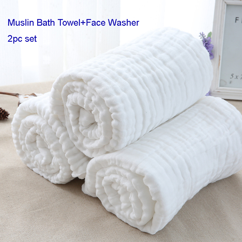 2 Pc Set Newborn Muslin Pure Cotton Warm Baby Bath Towels+Face washer White  Also for Baby Swaddle Blanket