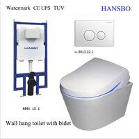 Hansbo настенные туалет с биде настенные Пан водяной знак сертификат встроенный интеллект Туалет