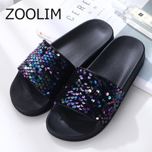 ZOOLIM Women Slippers Flip Flops Women Crystal Bling Sequins Platform Beach Slides Sandals Casual Shoes Slip On Slipper rhinestone women slippers flip flops summer women crystal diamond bling beach slides sandals casual shoes slip on slipper