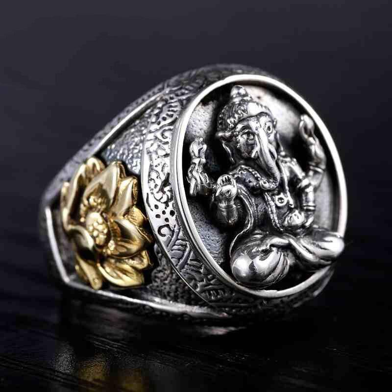 Thaïlande bouddha éléphant nez Fortuna Lotus anneau réel 100% 925 en argent Sterling hommes anneau rétro Punk Style hommes Thai bijoux en argent