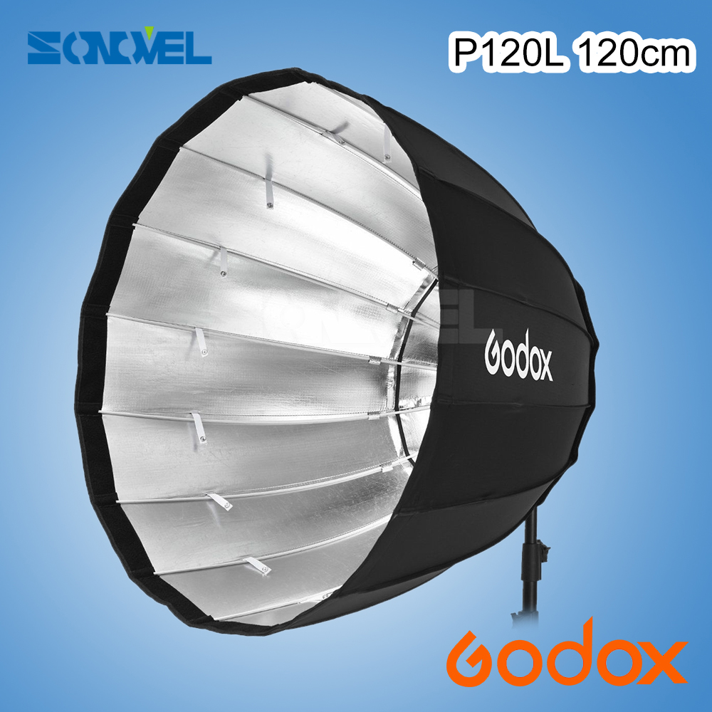 Godox Portable P120L 120CM Deep Parabolic Softbox Bowens Mount Studio Flash Speedlite Reflector Photo Studio Softbox godox p90l 90cm portable deep parabolic softbox bowens mount studio flash speedlite reflector photo studio softbox