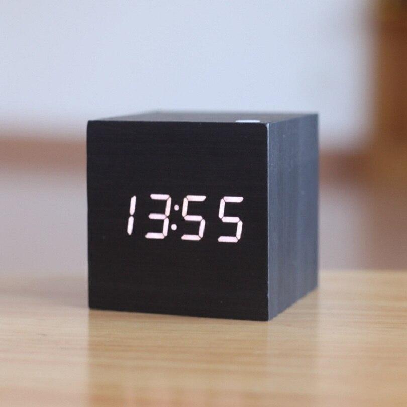 Cube holz Led-wecker, despertador Temperatur Klingt Steuer led-anzeige, elektronische desktop Digitale tischuhren, SKU4A4A3