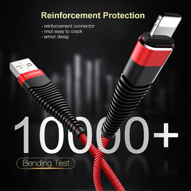 FLOVEME Hi-Tensile USB Cable For iPhone,5V/2A Charge Data Sync 1m 2m Braided Phone Cable For Apple iPhone 7 X 6 8 Plus 10 Cabo   1