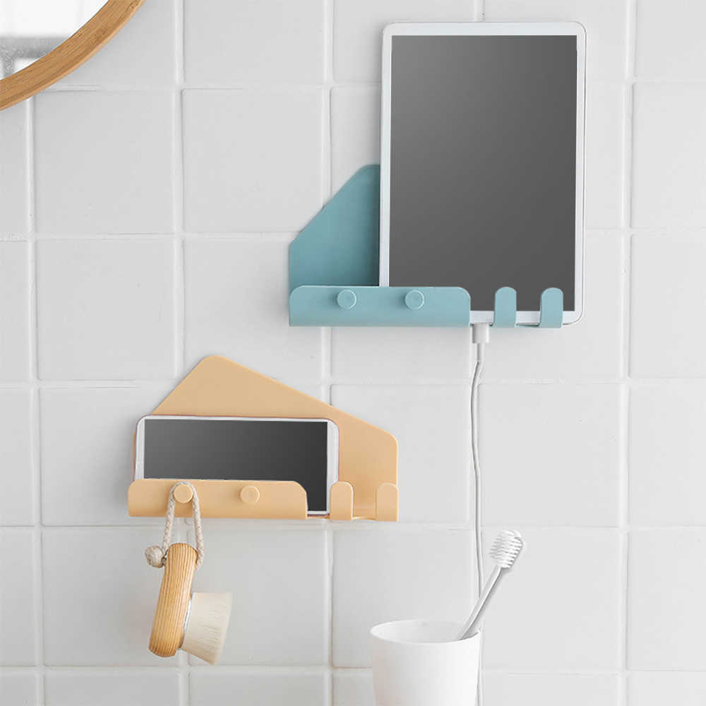 IVYSHION 1PC Universal Wall Mounted 4 Hooks Charger Mobile Phone Holder Hook Hanging Cellphone Tablet Charging Stand Bracket