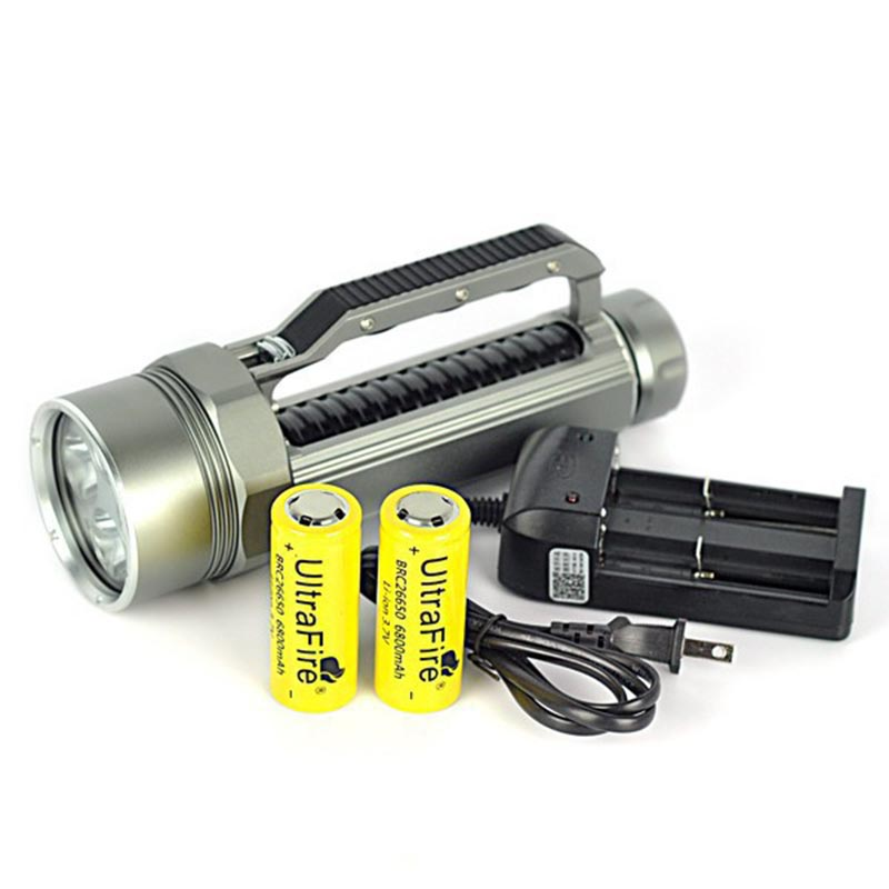 Newest Powerful LED Flashlight 4x XML L2 LED Scuba Diving Flashlight 10000 Lumens Torch Magnetic Switch+2x26650 Battery+Charger 5x xml l2 12000lm led waterproof diving flashlight magswitch diving torch lantern led flash light 2x18650 battery charger