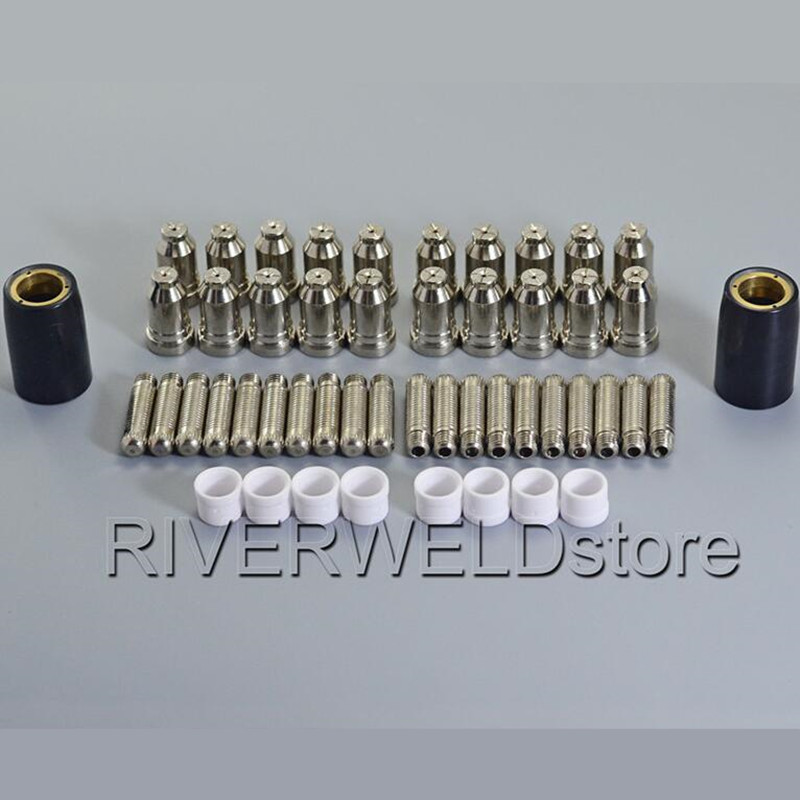 Plasma Tips 1.0mm 50Amp and Plasma Electrodes Fit SH-4 Plasma Torch Consumables Accessories, 50pcs plasma tips and plasma electrodes 100 120amp for jg 100 plasma cutter torch consumables accessories 70pk